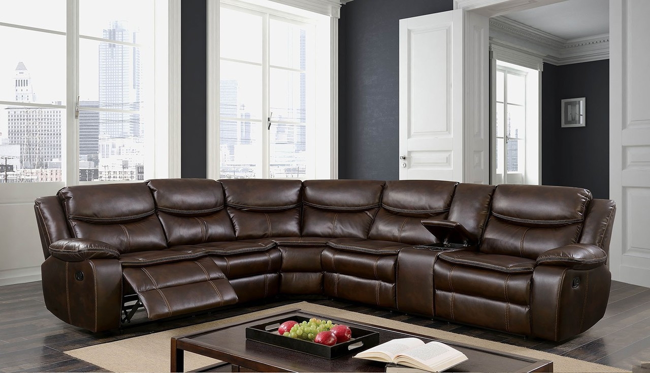 Furniture Of America Cm6982br Brown Sectional Recliner Sectionals