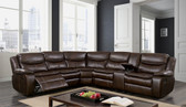 Furniture of America Brown Sectional Recliner with Cup Holders