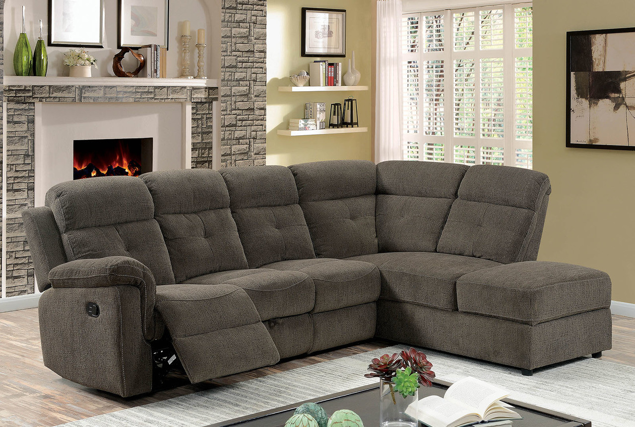 L Shaped Reclining Sectional Couch in Gray