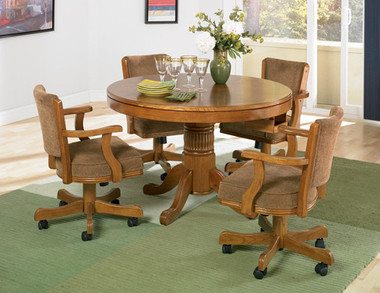 Oak Game Table with Chairs