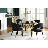 Lindsey Smoked 5 PCS Round Glass Top Table Set