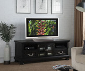 Poundex F4484 TV Cabinet with Glass Doors and Storage Drawers in Espresso Black