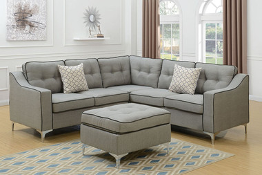Sectional Light Grey Fabric with Ottoman