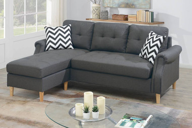 Reversible Sectional Sofa Set W/2 Accent Pillows in Blue Gray