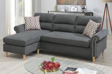 Reversible L Shape Sectional With Accent Pillows in Slate