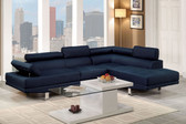 Navy Blue Sectional with Right facing chaise