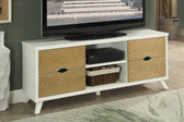 Poundex F4450 White TV Cabinet w/ Drawers in White with Natural Wood Drawers