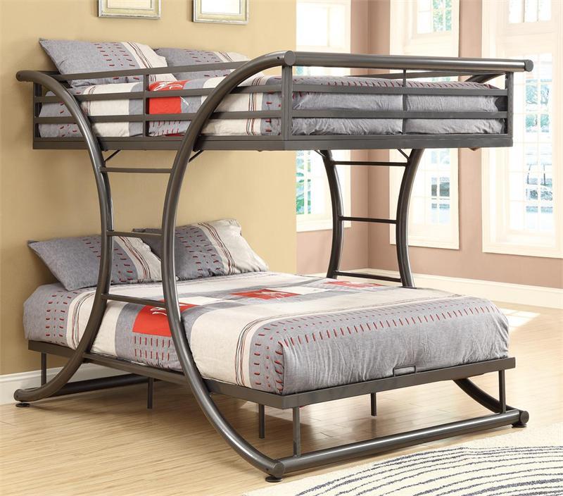 Grant Gunmetal Full Metal Bunk Bed Full Over Full Bunk Beds
