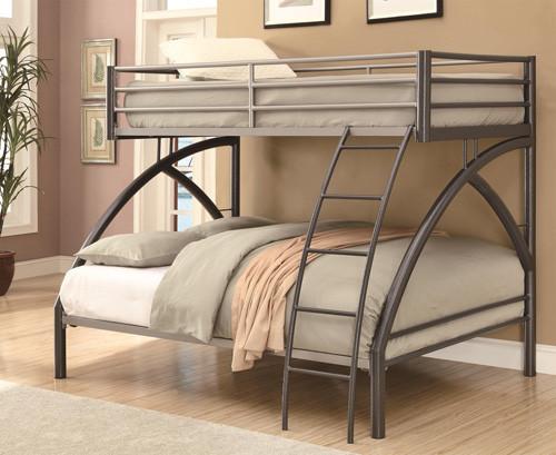 Grant Gunmetal Twin Over Full Metal Bunk Bed Oc Furniture