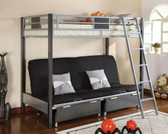 Silver Gunmetal Futon Bunk Bed with Optional Drawers