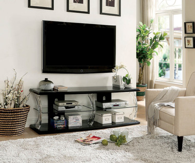 """Ernst CM5901 60"""" TV Stand with Shelving in High Gloss Black"""
