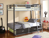 Silver Gunmetal Twin Metal Bunk Bed | Sturdy Bunk Bed