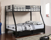 Black Twin Full Metal Bunk Bed | Sturdy Metal Bunk Bed