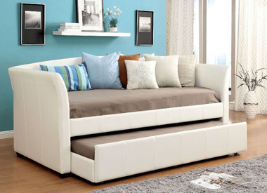 White bed with Under Bed Trundle