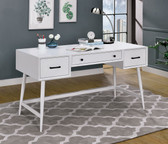 Ixelles DK6541 White Writing Desk with Storage Drawers