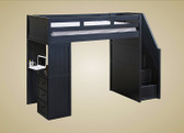 Gavin Twin Loft Bed with Stairs and Desk in Black