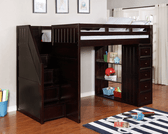 Lake View Full Loft Bed with Steps and Chest in Espresso