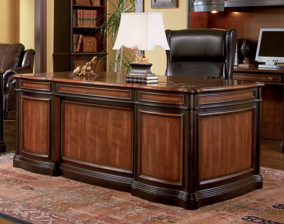 ainsley two tone home executive office desk executive desks. Black Bedroom Furniture Sets. Home Design Ideas