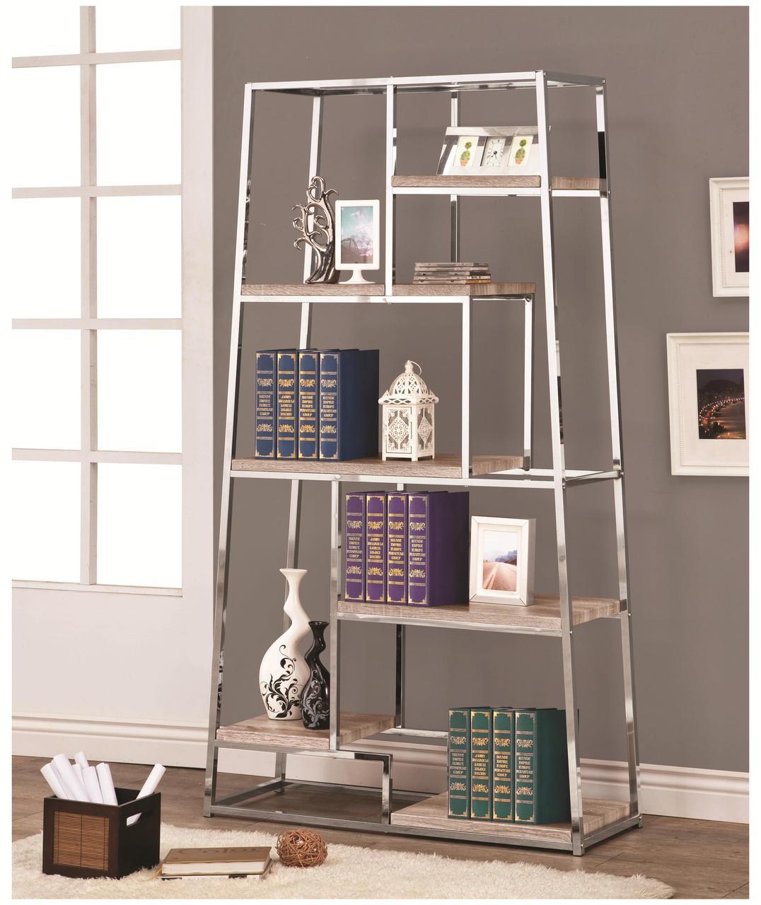 Denza Contemporary Chrome Bookshelf
