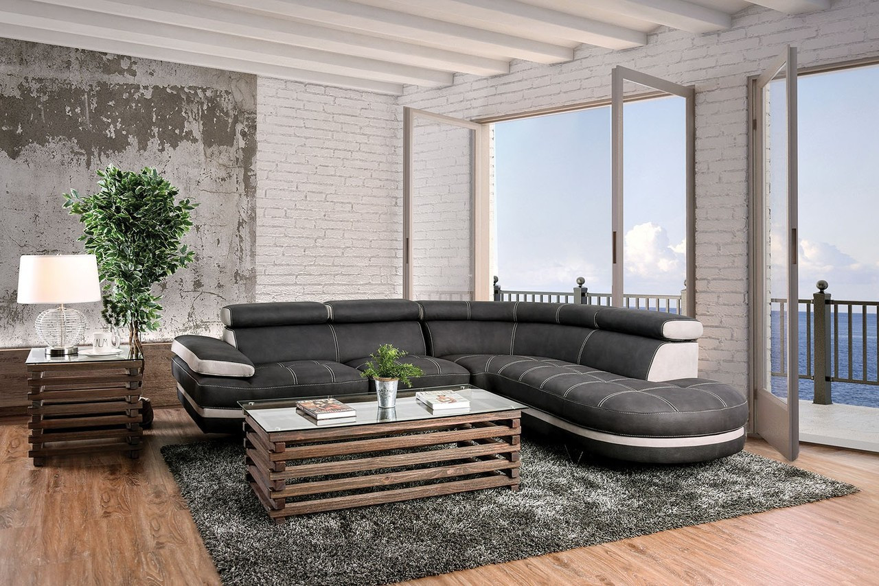 L Shaped Sectional Sofa in Graphite and Beige