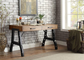 Industrial Style Writing Desk in Oak and Black