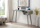 Holger DK6448 Glass Top Desk in Gray Finish