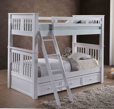 Gary Mission Full Size Bunk Bed in White