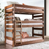 California Rustic Style Triple Decker Bed | Twin Size Tri Level Bed