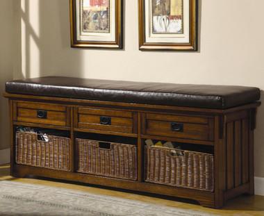 Medium Brown Storage Bench
