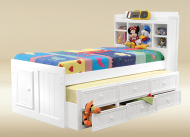 Dillon Bead Board Captains Bed | White Captains Bed with Drawers Trundle Combo