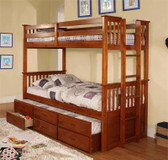 University Oak Twin Bunk Frame