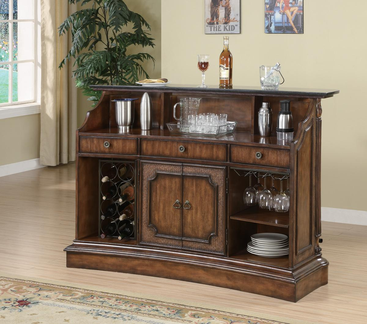 Bar Counter: Gaetano Warm Brown Bar Counter With Storage