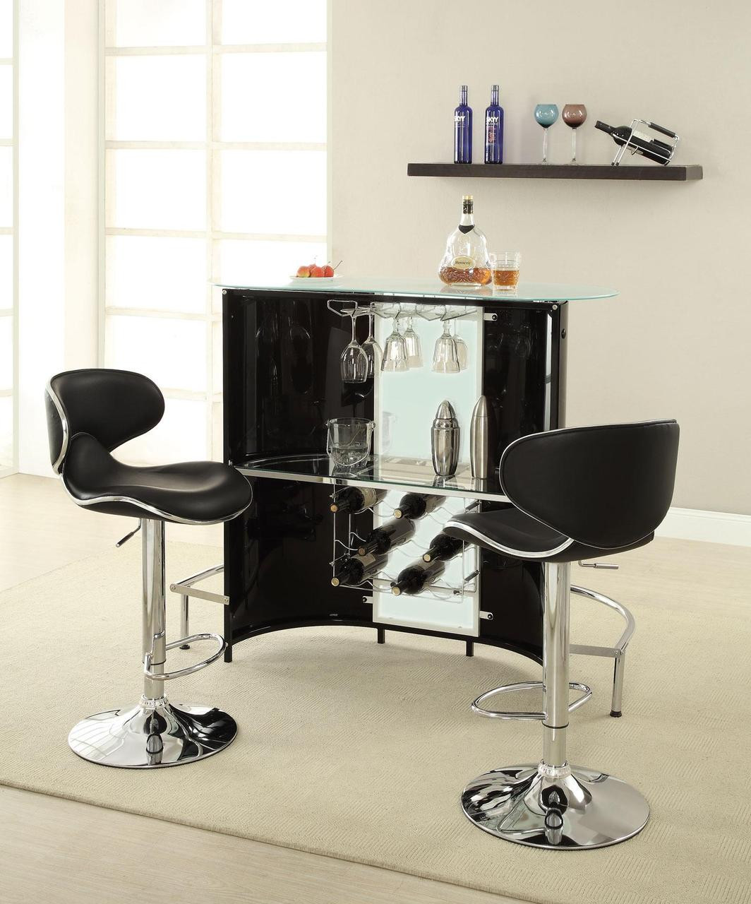 Bar Counter: Gervaise Black White Chrome Bar Counter