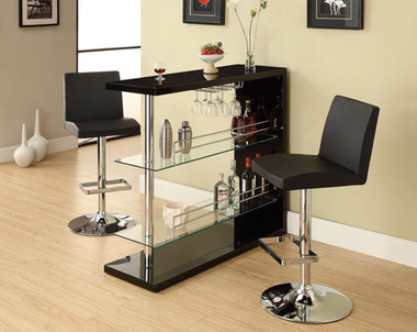 Black Chrome Bar Table with Storage
