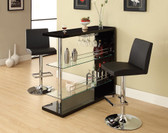 Black Chrome Bar Table with Storage