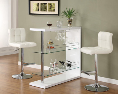 Hakoon White Chrome Bar Table with Glass Shelving