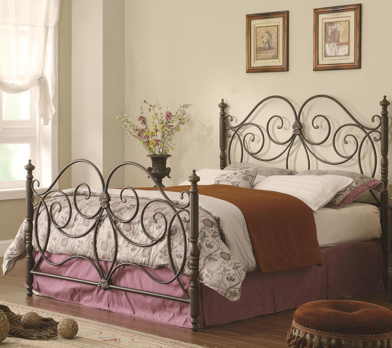 Anastasia Dark Bronze Queen Metal Bed | Buy Metal Beds