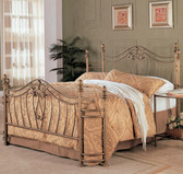 Antique Brushed Gold Queen Metal Bed