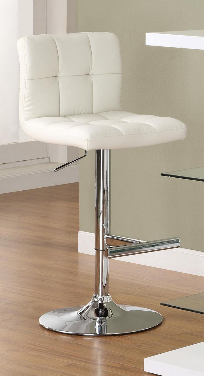 Geza White Chrome Adjustable Bar Stool Modern Bar Stools