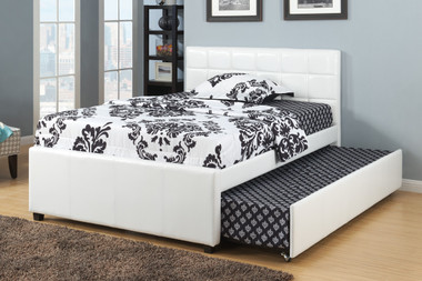 Adena White Twin Bed With Trundle | Twin Beds for Kids