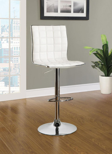 Hank White Chrome Modern Adjustable Bar Stool Modern Bar