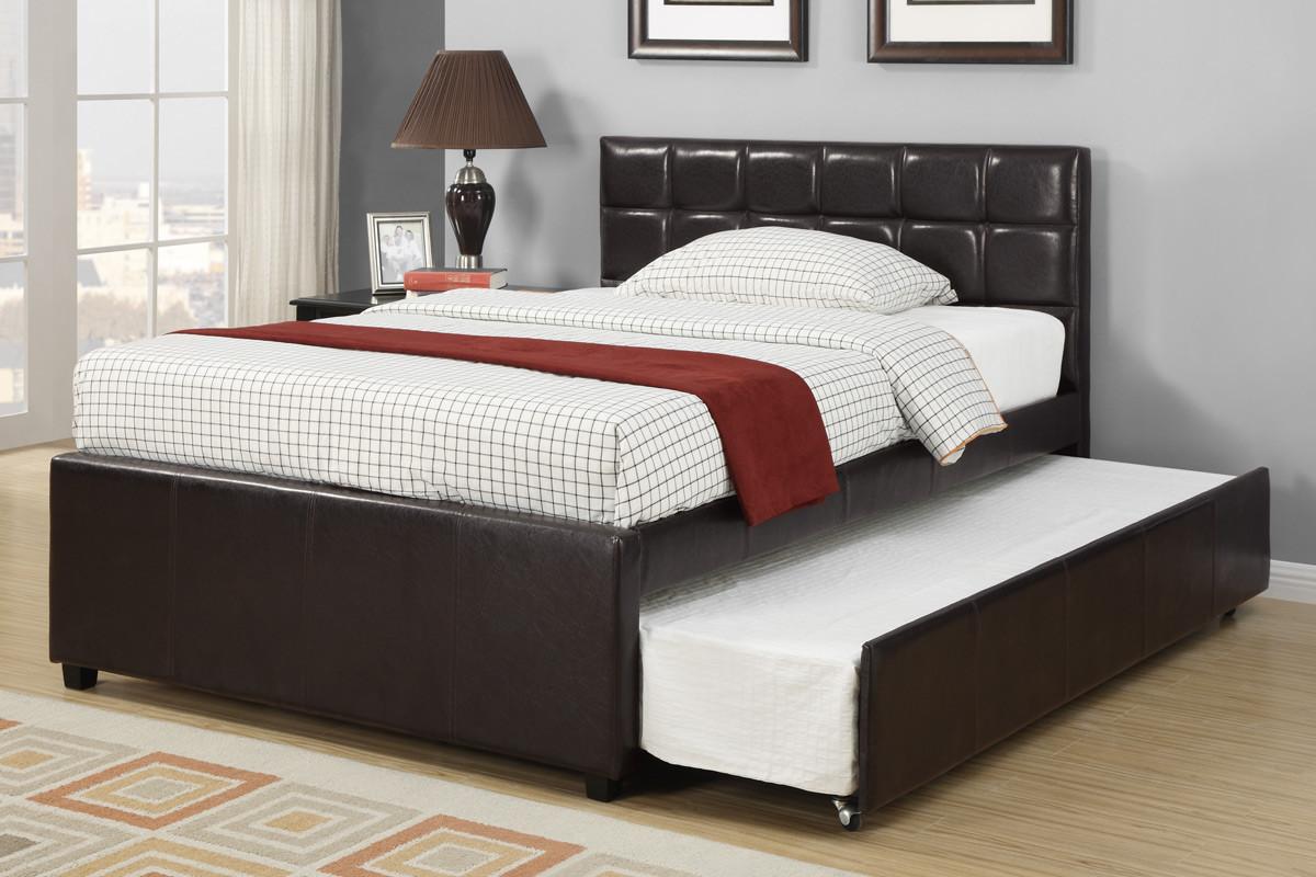 Picture of: Adena Espresso Full Bed With Trundle Ocfurniture Com