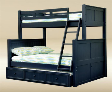 Navy Blue Twin Over Full Bunk Bed | Convertible Wood Bunk Bed Twin over Full