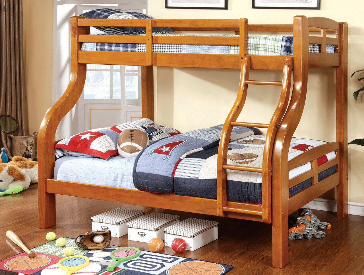 Picture of: Fletcher Oak Twin Over Full Bunk Bed Oak Bunk Beds For Kids