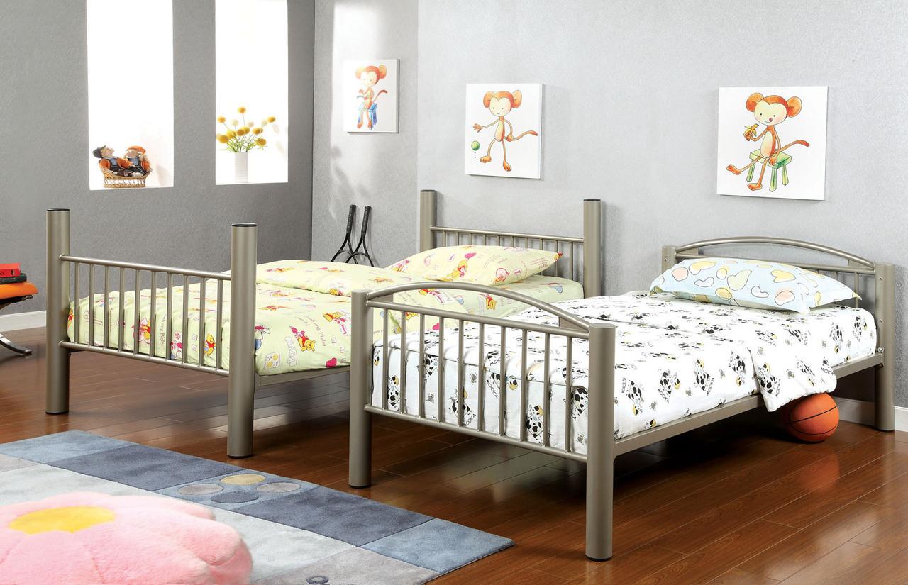 Paddington Metallic Gold Twin Metal Bunk Bed Twin Bunk Beds