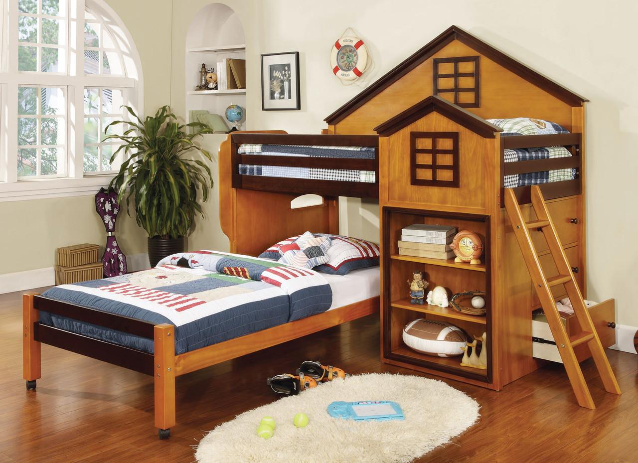 competitive price 3f1c1 4dd62 Paloma Oak Walnut Twin House Bed