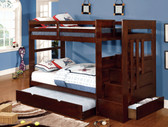 Padgett Dark Walnut Twin Bunk Bed with Steps and Trundle