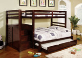 Dark Walnut Twin Full Bunk Bed with Stairs Shown with Optional Trundle