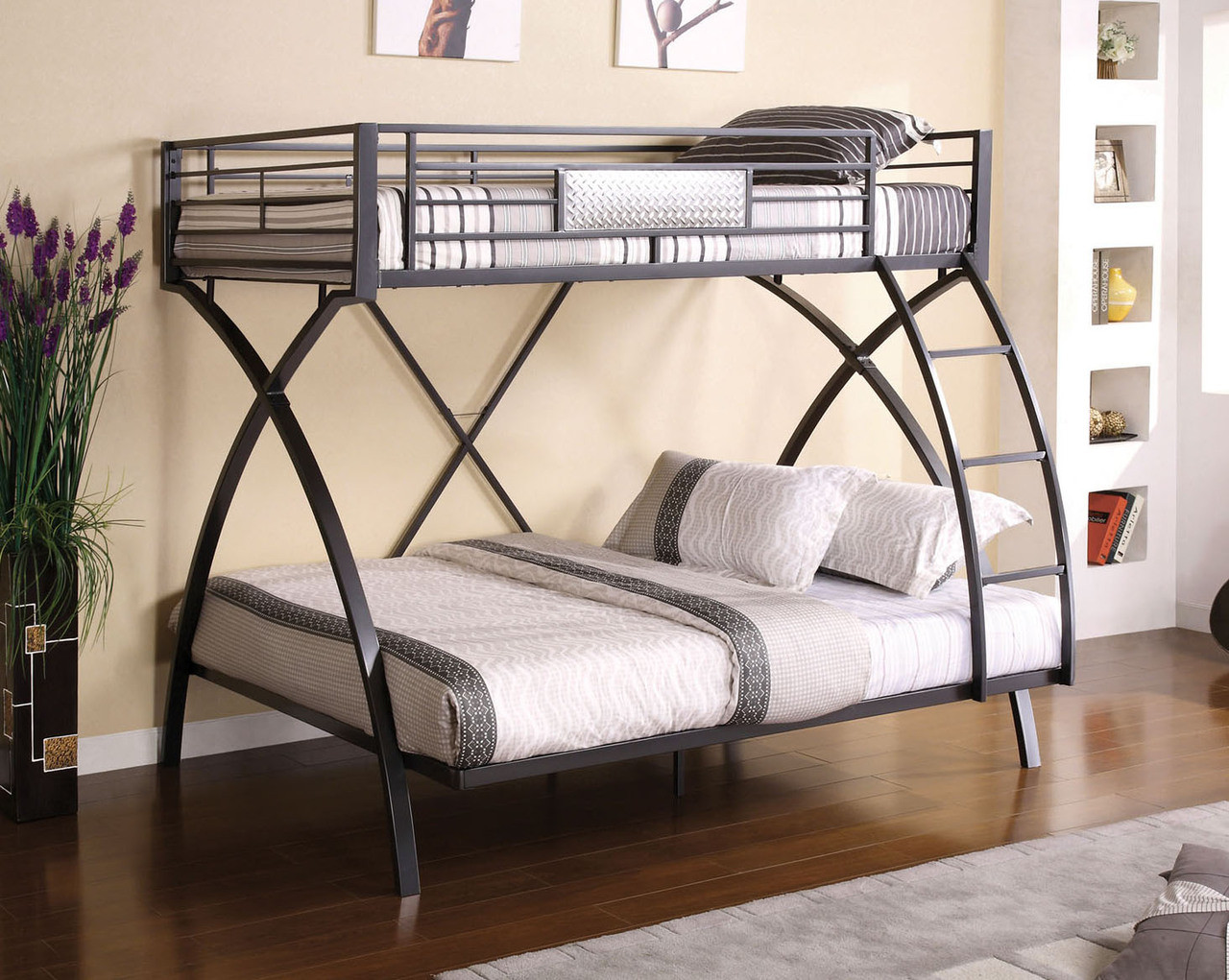 Laird Gun Metal Chrome Twin Over Full Bunk Bed Ocfurniture