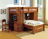 Oak Twin Loft Bed with Desk